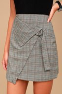 The Fifth Label City Sounds Grey Plaid Wrap Skirt 2