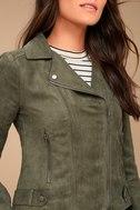 BB Dakota Johanness Olive Green Suede Moto Jacket 4