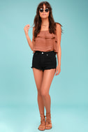 Amuse Society Kenzie Black Cutoff Denim Shorts 3