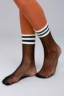 Free People Riot Sport Black Striped Fishnet Socks 2