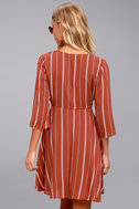 Amuse Society Let's Knot Rust Red Striped Dress 3
