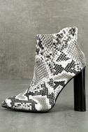 Scarlett Black and White Snake Print Ankle Booties 1