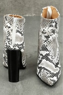 Scarlett Black and White Snake Print Ankle Booties 4