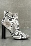 Scarlett Black and White Snake Print Ankle Booties 3