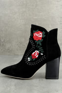Silent D Manda Black Suede Leather Embroidered Ankle Booties 1