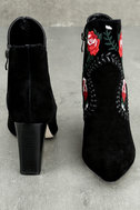 Silent D Manda Black Suede Leather Embroidered Ankle Booties 2