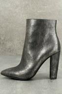 Jessica Simpson Teddi Black and Gunmetal Leather Ankle Booties 1