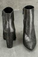 Jessica Simpson Teddi Black and Gunmetal Leather Ankle Booties 5