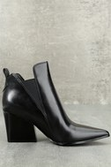 Kendall + Kylie Fox Black Leather Ankle Booties 2
