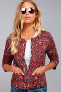 Tavik Enigma Wine Red Print Reversible Quilted Jacket 2