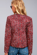 Tavik Enigma Wine Red Print Reversible Quilted Jacket 3