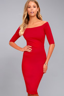 Girl Can't Help It Red Off-the-Shoulder Midi Dress 3