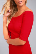 Girl Can't Help It Red Off-the-Shoulder Midi Dress 5