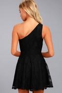 NBD Camilla Black Lace One-Shoulder Skater Dress 3