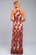 Finders Keepers Spectral Burgundy Lace Maxi Dress 3