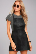 Jack by BB Dakota Robison Black Vegan Leather Pinafore Dress 5