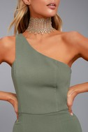 Finders Keepers Haunted Olive Green One-Shoulder Midi Dress 4