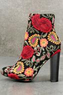 Kupuri Black Embroidered Ankle Booties 1
