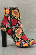 Kupuri Black Embroidered Ankle Booties 3