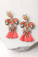 Bouquet For Today Gold and Pink Rhinestone Tassel Earrings 2