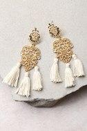 Island Dreams Gold and Ivory Tassel Earrings 1