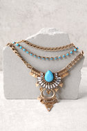 Free Spirit Gold and Blue Layered Necklace 2