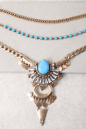 Free Spirit Gold and Blue Layered Necklace 3