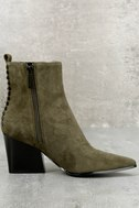 Kendall + Kylie Felix Dark Green Suede Leather Ankle Booties 2