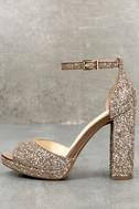 Jessica Simpson Jenee2 Lira Gold Glitter Platform Heels 1