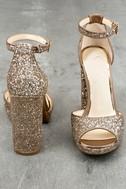 Jessica Simpson Jenee2 Lira Gold Glitter Platform Heels 4