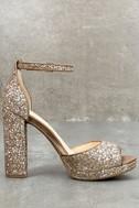 Jessica Simpson Jenee2 Lira Gold Glitter Platform Heels 3