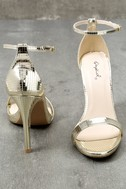 All-Star Cast Champagne Ankle Strap Heels 2
