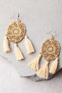 Dreamland Orange and Gold Tassel Earrings 1
