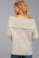 BB Dakota Tegan Beige Off-the-Shoulder Sweater 1