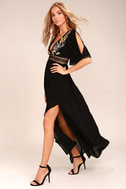 Puerto Vallarta Black Embroidered Maxi Dress 2