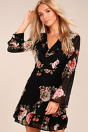 Alive with Artistry Black Floral Print Long Sleeve Dress 2