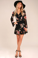Alive with Artistry Black Floral Print Long Sleeve Dress 1