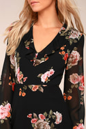 Alive with Artistry Black Floral Print Long Sleeve Dress 4