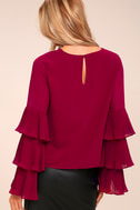 One For the Ages Burgundy Long Sleeve Top 2
