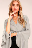 Chic Charm Light Grey Long Sleeve Top 3