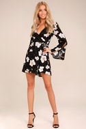 Bette Black Floral Print Long Sleeve Wrap Dress 2