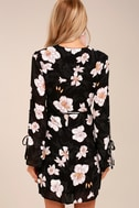 Bette Black Floral Print Long Sleeve Wrap Dress 3