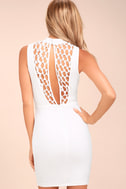 Lavish Lattice White Bodycon Dress 4