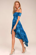 Lucy Love Tranquility Blue Print Off-the-Shoulder Dress 2