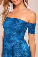 Lucy Love Tranquility Blue Print Off-the-Shoulder Dress 4