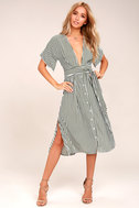 Faithfull the Brand Mustang Olive Green Striped Midi Dress 1