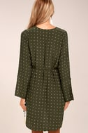 Faithfull the Brand Neroli Olive Green Print Long Sleeve Dress 3