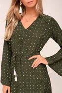 Faithfull the Brand Neroli Olive Green Print Long Sleeve Dress 4