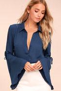 Estrella Navy Blue Long Sleeve Button-Up Top 1