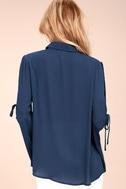 Estrella Navy Blue Long Sleeve Button-Up Top 3